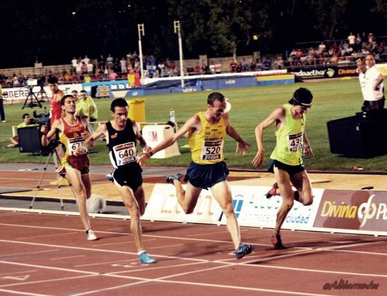 Final 5000 metros. Toni Abadía, Roberto Alaiz y Jesús España